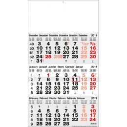 Calendrier INT1 TRYPTIQUE BASIC 3 M ROUGE/NOIR