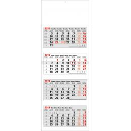 Calendrier INT4 TRYPTIQUE LUXE 4 M ROUGE/NOIR